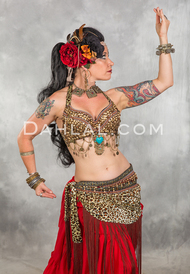 Tribal belly dance bra and belt set