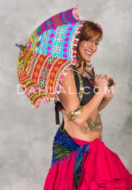 EMBROIDERED COTTON PARASOL in Vivid Tribal Bohemian Patterns