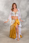 Gold and White Satin Belly Dance Skirts