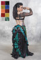 Teal and Black Satin Skirts for Belly Dance