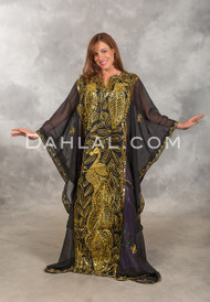AMEERAH Khaleegi Dress or Saudi Thobe in Black and Gold
