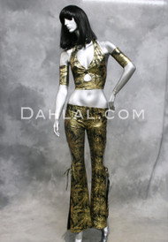 SHUKURA Two Piece Set in Gold and Black, by Designer Rising Stars, Egyptian Belly Dance Costume and Tribal Fusion Wear