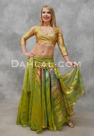 DYNASTY V Metallic Double Chiffon Skirt in Lime Green