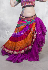 PASSION FLOWER Tiered Sari Wrap Skirt, for Belly Dance