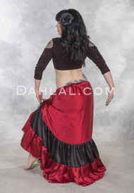 Red and Black Double Ruched Skirt