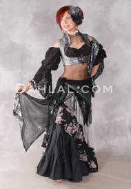 Black With Floral With Silver