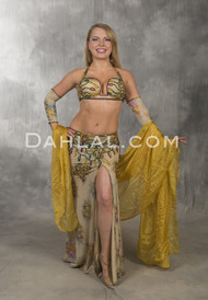 SANDS OF TIME in Beige, Wine, Gold and Green,  Bra Size B/C- C by Designer Rising Stars, Egyptian Belly Dance Costume