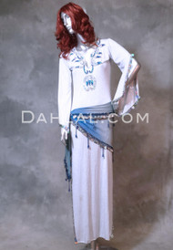 SAIDI JEWEL IV in White, Silver and Blue, Size Medium Egyptian Belly Dance Dress