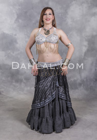 CLEOPATRA BRA and BELT SET in Antique White, Silver and Gold, in Bra Size B #2, for Belly Dancing