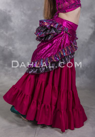 Fuchsia Lame Double Layer Bustle Wrap Skirt