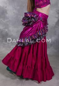 Fuchsia Lame Double Layer Bustle Wrap Skirt