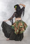 NOCTURNAL NOIR Extra Full Cotton Skirt with Gold Metallic Stripes for belly dance