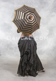 NOCTURNAL NOIR Extra Full Cotton Skirt with Gold Metallic Stripes, for belly dance