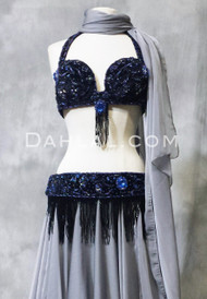 navy blue bra and belt set