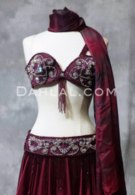 FROM ONE HEART in Wine Bra and Belt Set, Bra Size B,  by Pharaonics of Egypt, Egyptian Belly Dance Costume