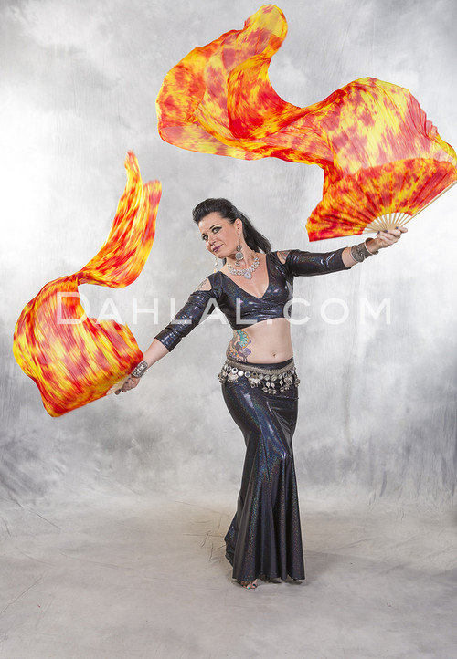 fire silk veil fan