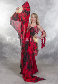 black and red silk veil fan