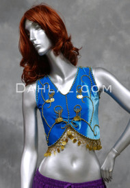 Egyptian Velvet Beaded Crop Top with Coin Tassels in Turquoise and Gold, Size Small,  for Belly Dance