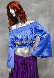 Off Shoulder Crop Top with Embroidery in Turquoise and Gold, Size Small,  for Belly Dance