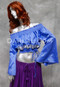 Off Shoulder Crop Top with Embroidery in Medium Blue and Gold, Size Small