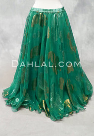 Metallic Double Chiffon Skirt in Emerald