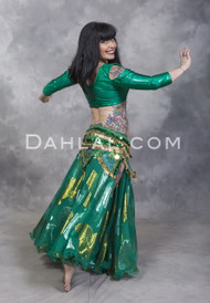 Emerald Metallic Double Chiffon Skirt for Belly Dance