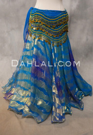 DYNASTY V Metallic Double Chiffon Skirt in Turquoise