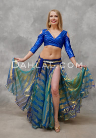 Turquoise Metallic Chiffon Skirt in Full Length View