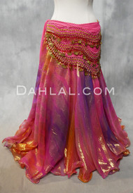 DYNASTY V Metallic Double Chiffon Skirt in Hot Pink