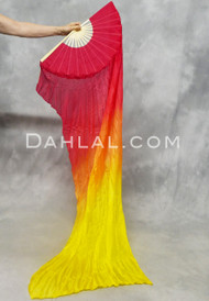 Red/Orange/Yellow Gradient Silk Veil Fans