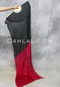 Black and Red Silk Veil Fans for Belly Dance