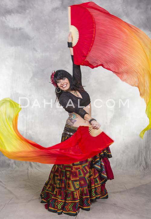 Red, Orange and Yellow Gradient Silk Veil Fans