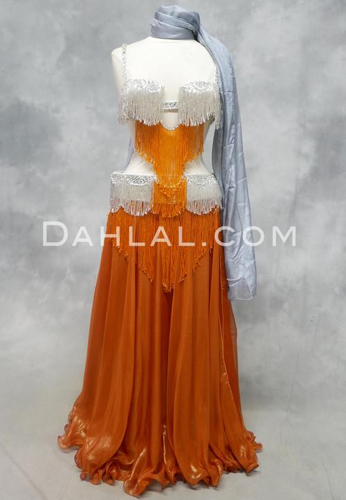 ORANGE CRUSH Bra and Belt Set in Silver and Orange  Egyptian belly dance costume