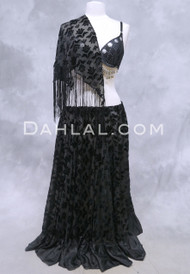 Black Burnout Velvet Skirt with Silk Ruffle and Shawl Set for Belly Dance
