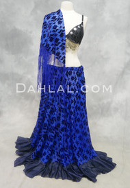 Royal Blue Burnout Velvet Skirt with Silk Ruffle and Shawl Set for Belly Dance