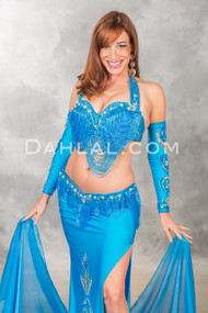 Professional Turquoise Beaded Bra and Belt set from Pharaonics of Egypt
