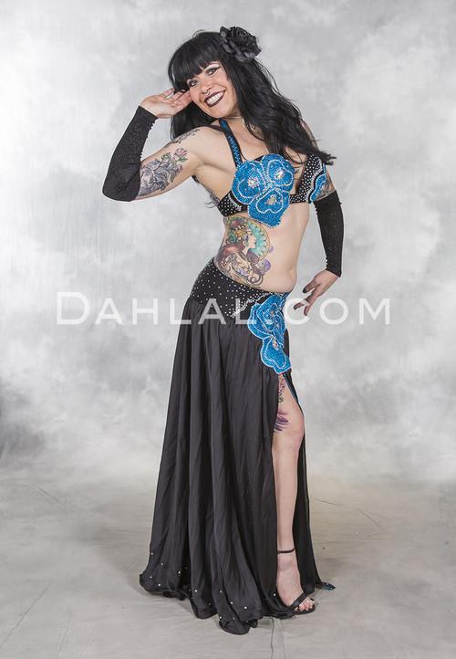 EVENING IN BLOOM in Black belly dance costume