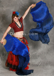 Royal Blue into Midnight Blue Silk Veil Fans