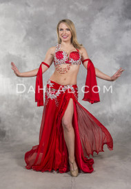 Striking red and silver Egyptian belly dance costume