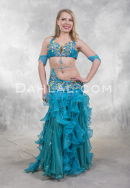 TRANQUIL WATERS- Turquoise and Silver,  by Designer Rising Stars, Egyptian Belly Dance Costume