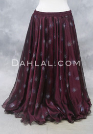 GLITTERED CHIFFON SKIRT - Wine and Silver, for Belly Dance