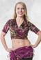 Fuchsia Printed Burnout Velvet Wrap Top