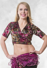 Fuchsia Printed Burnout Velvet Wrap Top