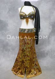 DIAMOND TREASURES Belly Dance Bra and Belt Set-  Gold and Black Iris, by Designer Rising Stars, Bra Size B #2
