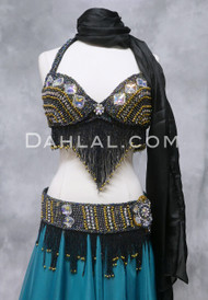 DIAMOND TREASURES Belly Dance Bra and Belt Set-  Black Iris and Gold, by Designer Rising Stars, Bra Size B #2