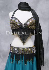 DIAMOND TREASURES Belly Dance Bra and Belt Set-  Black Iris and Gold, by Designer Rising Stars, Bra Size B #2