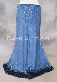 Blue Glitter Velvet Mermaid Skirt for Belly Dance