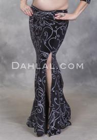 EMPRESS Black Glitter Velvet Mermaid Skirt by Off The Nile