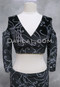 Black Velvet Mock Wrap Top with Silver Glitter