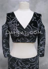 Black Velvet Mock Wrap Top with Silver Glitter